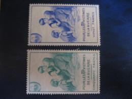 20 + 50 Francs Pour Les Victimes De La Guerre PTT War Militar 2 Poster Stamp Vignette FRANCE Label - Erinnophilie