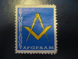 Frimurerlauget AF G.F. & A.M. Freemasonry Masonry Masonic Lodge Poster Stamp Vignette DENMARK Label - Franc-Maçonnerie