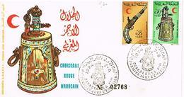 MAROC  ENVELOPPE + TIMBRES + OBLITIRATIONS 1974 TBE  EN 25 - Marokko (1956-...)