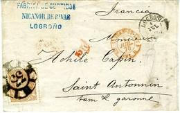 ESPAGNE 1870  LOGROÑO A SAINT ANTONIN  Lettre  12 CUARTOS N° 113  4 JUL 70 LC 48 - Cartas