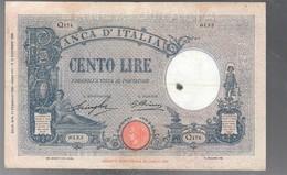 100 Lire Barbetti Azzurrino Fascio 17 02 1930 Raro Leggermente Pressato Macchia E Forellini Bb LOTTO 3245 - 100 Lire