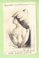 MONTAGE PHOTO - Magnifique Jeune Fille Sortie D'un Perce Neige Qui A éclos - Art Nouveau - Dos Simple -  2 Scans - Fotografie