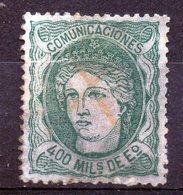 Timbre Espagne 400 Vert Oblitéré - 1870-72 Reggenza