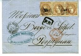 ESPAGNE 1872   S FELIU DE GUIXOLS  A PERPIGNAN  Lettre 3 X  12 CUARTOS N° 113  130 JUN 72  LC 51 - Cartas