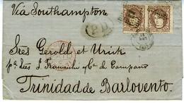 ESPAGNE 1871  SANTANDER  A TRINIDAD Lettre Affr  2 X  200MILS  N° 109  112 SET 71  LC 54 - Cartas