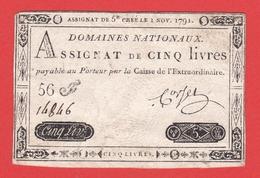 ASSIGNAT - 5 Livres Du 01 11 1791 - Royal Timbre Sec LOUIS XVI - Assignats