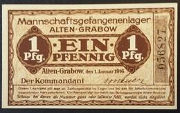 Billet 1 Pfennig LAGERGELD MONNAIE DE CAMP PRISONNIER DE GUERRE Kriegsgefangenenlager ALTEN-GRABOW - [10] Emissions Militaires