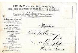 Carte Commerciale 1921 / 70 Usine De La Romaine Fonderie, émaillerie / Directeur SEYDEL - 1900 – 1949