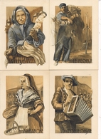 Lot De 4 CPA - Illustration Y. TREBLA - FIGURES DU TERROIR  - La Fileuse, L'Accordéoniste, Au Marché, Le Pêcheur - Other Illustrators