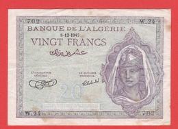 BILLET ALGERIE - 20 Francs Du 08 12 1942 - Pick 92a - - Algerien