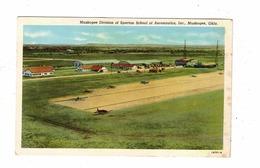 MUSKOGEE, Oklahoma, USA, Muskogee Division Of Spartan School Of Aeronautics, Old Linen Postcard - Muskogee