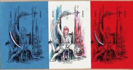 Hu025 Satire Politique 3 Cartes BLEU BLANC ROUGE MARIANNE Républicaine La FOUETTEE 1789-1989 - Humour