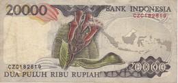 BILLETE DE INDONESIA DE 20000 RUPIAH DEL AÑO 1995  (BANKNOTE) PAJARO - BIRD - Indonesien