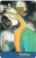 Peru - Telefónica - Iquitos, Parrot, Gem Not Symmetric Black, 5Sol, 150.000ex, Used - Peru