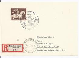 Dt- Reich (002900) Postkarte Einschreibern Mit Sonderstempel München Riem Mit Einschreibezettel Rennplatz!! - Germania