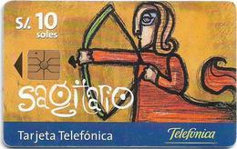 Peru - Telefónica - Zodiacs, Sagitario Zodiac, 10Sol, 11.1999, Used - Perú