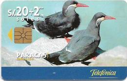 Peru - Telefónica - Paracas - Pareja De Zarcillos, Birds, Chip Gem1A Symmetr. Black, 20+2Sol, 08.1999, 50.000ex, Used - Peru