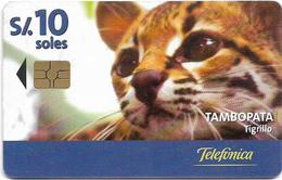 Peru - Telefónica - Tambopata - Tigrillo, Loreto Otorongo, Chip Gem5 Red, 10Sol, 11.2000, 50.000ex, Used - Peru
