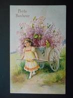 Petite Fille Tirant Une Charrette Pleine De Lilas - Gaufrée - Autres