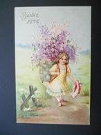 Petite Fille Portant Une Hotte Pleine De Lilas - Gaufrée - Autres