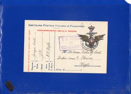 ##(DAN205)1918-Cartolina In Franchigia Della Marina Con Bollo Censura E Annullo Regia Nave Napoli Per Napoli-ship Cancel - Poststempel