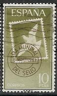ESPAÑA SEGUNDO CENTENARIO USADO Nº 1350 (0) 10P VERDE Y CASTAÑO DIA MUNDIAL DEL SELLO - 1931-Aujourd'hui: II. République - ....Juan Carlos I