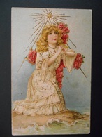 Petite Fille Priant Au Bord De L'eau, Croix En Roses, étoile - Dorure - Gaufrée - Série 310 - Autres