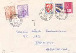 "MADAGASCAR TAXE 42 + 43 2F + 3F  Obl "" TAMATAVE 6/7/76 "" Sur Lettre De FRANCE - Timbres-taxe"