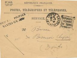 """DAGUIN RARE """" GRANDE SEMAINE DE TOURS 10-18 MAI 1924 """" Indre Et Loire Sur DEVANT De Lettre PTT Cheques Postaux Nantes - Postmark Collection (Covers)"""