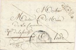 """1809 MP """" P36P AMBOISE """" Indre Et Loire Lettre En Port Payé > Le Lude Mairie - Cachet Aigle Imperial Cote 90€ - Marcophilie (Lettres)"""