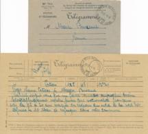 """Enveloppe TELEGRAMME AVEC CONTENU """" LAHAYE DESCARTES INDRE ET LOIRE 5/6/40 """" Recensement Jeunes EVACUÉS Lettre Prefectur - Marcophilie (Lettres)"""