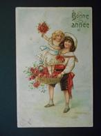 Petit Garçon Portant Petite Fille Dans Panier De Roses - Dorure - Gaufrée - Autres