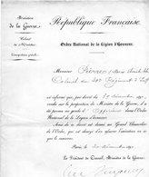 """.MILITAIRE -- """"Certificat""""-(Colonel Du 30é. Regt. D'Infanterie Promu D'Of. Dans L'Ordre National De La Légion D'Honneur) - Documents Historiques"""