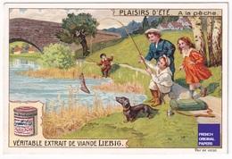 Jolie Chromo Liebig Circa 1910 Plaisirs D'été Parc Pêche Chien Teckel Fille - Dachshund Fishing Summer Dog A34-92 - Liebig