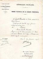 """.MILITAIRE -- """"Certificat""""-(Major Au Régt. De SAPEURS-POMPIERS De Paris Nommé Chevalier De La Légion D'Honneur). - Documents Historiques"""