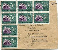 VIET-NAM LETTRE AVEC AFFRANCHISSEMENT COMPL. AU DOS DEPART SAIGON 10-1-1968 POUR LA FRANCE - Vietnam