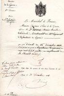 """.MILITAIRE -- """"Certificat""""-(Lieutenant Au 22è Régt D'INFANTERIE De Ligne Promu Au Grade De Capitaine Trésorier). - Documents Historiques"""