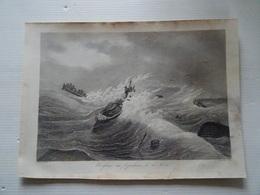 Ancienne Gravure  FRANCE MARITIME Naufrage Des 78 Pecheurs De La Teste 1830 En L'état - Prints & Engravings