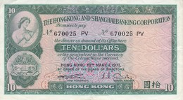 BILLETE DE HONG KONG DE 10 DOLLARS DEL AÑO 1971 EN CALIDAD EBC (XF) (BANKNOTE) - Hong Kong