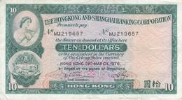 BILLETE DE HONG KONG DE 10 DOLLARS DEL AÑO 1976 (BANKNOTE) - Hong Kong