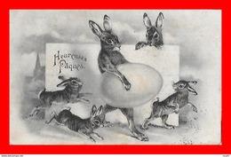 CPA  HEUREUSES PÂQUES.  Lapins Et œufs...S1892 - Easter