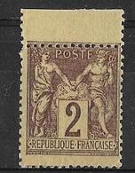 Sage 1877 -  Type II 2 C.brun-foncé Avec Piquage à Cheval  - Y&T N° 85 Neuf ** (infime éclat De Gomme). - 1876-1898 Sage (Type II)