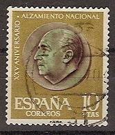 ESPAÑA SEGUNDO CENTENARIO USADO Nº 1364 (0) 10P ORO Y VERDE. ALZAMIENTO NACIONAL - 1931-Aujourd'hui: II. République - ....Juan Carlos I