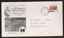 CANADA FDC Scott # 506 - NWT Centennial - Rose Craft Cachet - 1971-1980