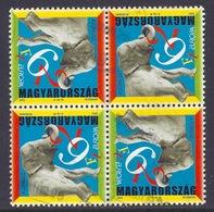 Hungary - 2002 Europa CEPT, The Circus, Elephant - (Block Of 4), Used - Gebruikt