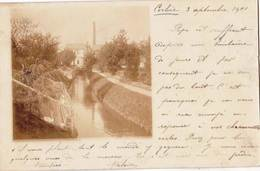 Carte Photo   Corbie (80) Canal Avec En Fonds L'Usine Bullot  Et Sa Cheminée Voyagée 1901 - Orte