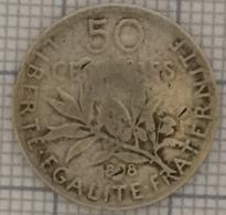 CINQUANTE CENTIMES, RÉPUBLIQUE FRANÇAISE. 1898. ARGENT. - G. 50 Centesimi