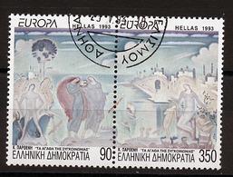 Grèce - Griechenland - Greece 1993 Y&T N°1817 à 1818 - Michel N°1829A à 1830A (o) - EUROPA - Se Tenant - Usati