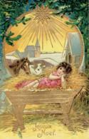Joyeux Noel Créche Etoile Enfant Berceau 1910 - Autres