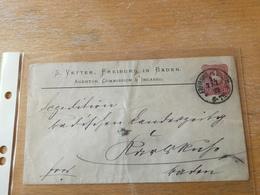 K3 Deutsches Reich Ganzsache Stationery Entier Postal U 12A Zudruck Von Freiburg Nach Karlsruhe - Entiers Postaux